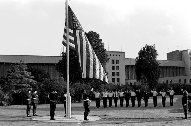 A formal retreat ceremony is held in honor of the 33rd anniversary of Tempelhof Central Airport