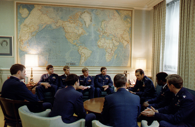 USAF Thunderbird pilots meet with General David C. Jones, USAF, chairman of the Joint Chiefs of STAFF, at the Pentagon
