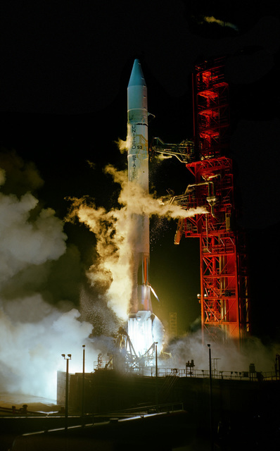 An HEAO-3 spacecraft is launched aboard an Atlas Centaur-53 launch vehicle