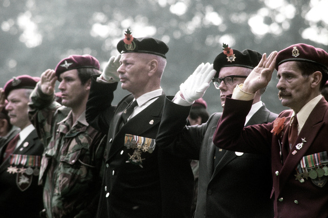 Old British troopers, some of whom participated in the earlier events, observe the 36th Annual Remembrance of the Battle of Arnhem
