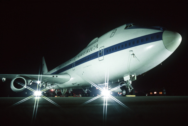 A right front view of an E-4B aircraft on the flight line