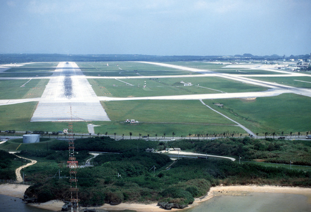 An elevated view of the runway approach