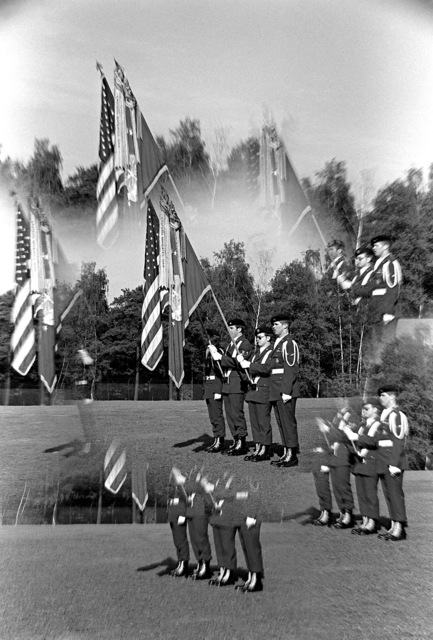 Multiple exposure of a U.S. Air Force color guard in the parade held in conjunction with Berlin Community Unity Week, held at a brigade housing area at Tempelhof Central Airport