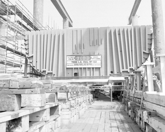 A view of the keel being laid for the guided missile frigate REID (FFG 30) at Todd Pacific Shipyard