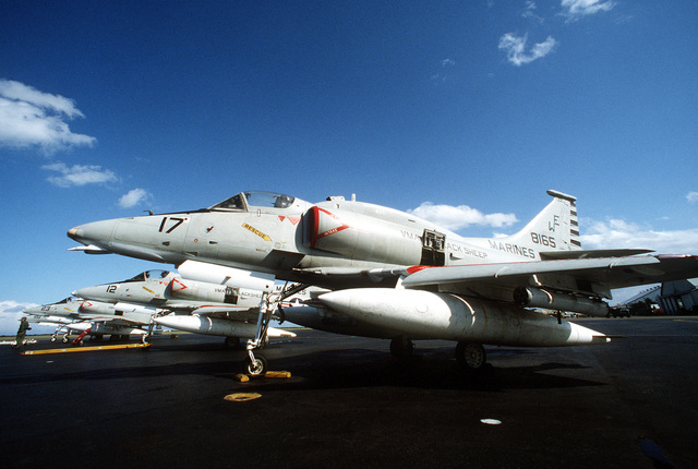 A left side view of a parked A-4EJ Skyhawk aircraft from Marine Light Attack Squadron 214 (VMA-214) during exercise Cope North '80