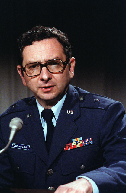 BGEN Robert A. Rosenberg participates in a Media Training Seminar. Air Force public affairs personnel act as reporters to prepare him for actual interview situations
