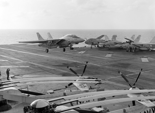 A Fighter Squadron 142 (VF-142) F-14A Tomcat aircraft lands aboard the nuclear-powered aircraft carrier USS DWIGHT D. EISENHOWER (CVN 69)