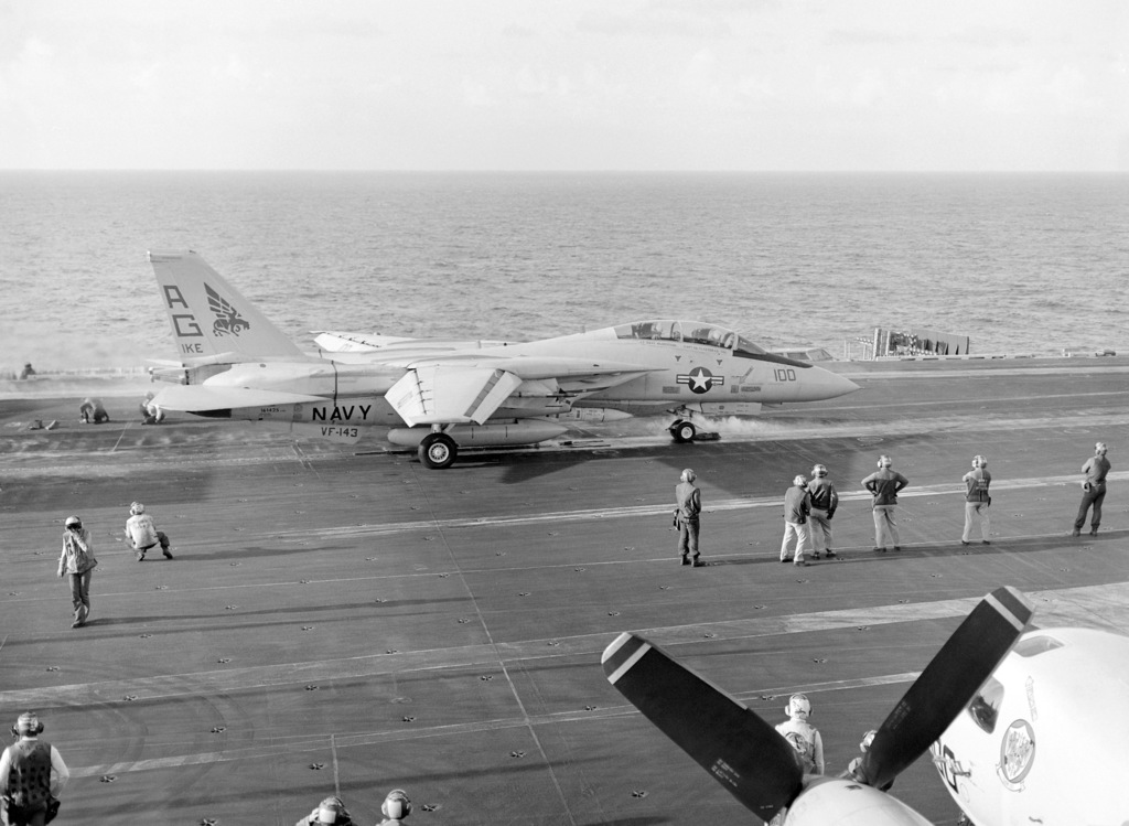 A Fighter Squadron 143 (VF-143) F-14A Tomcat aircraft prepares to be launched from the nuclear-powered aircraft carrier USS DWIGHT D. EISENHOWER (CVN 69)