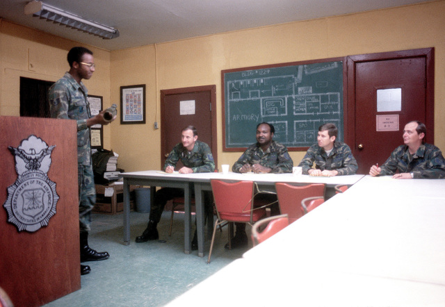 SSGT John Morrison instructs a security police training class at the 51st Security Police Squadron