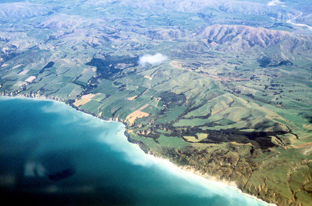 Aerial view of the coastline