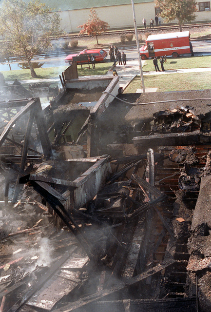 Top view of the fire-damaged CHIEF of Chaplains Building