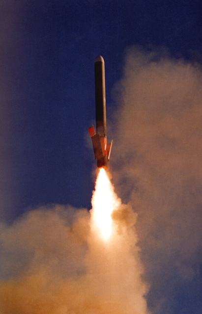 A modified BGM-109 Tomahawk surface-to-surface missile is launched from the vertical launching system (VLS) during VLS testing