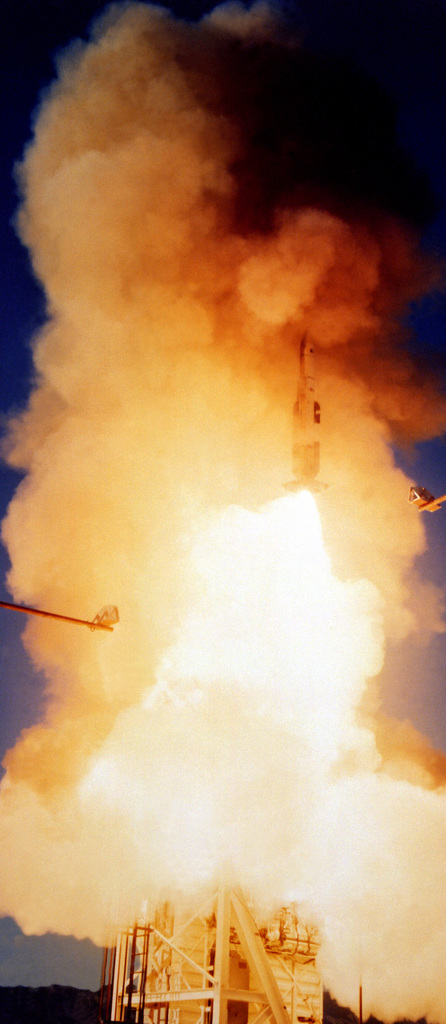 A Standard-ER/SM-2 (RIM-67) surface-to-air missile is successfully launched from the vertical launching system (VLS) during VLS testing