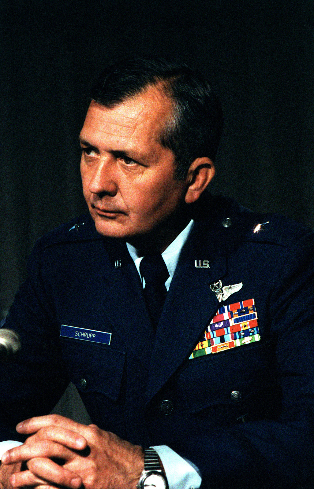 Brigadier General Walter C. Schrupp, Commander, 8th Air Force, takes part in a series of media training seminars