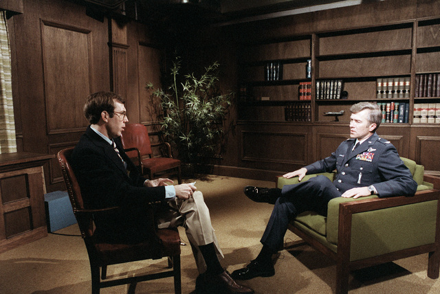 COL Robert J. Roetcisoender, Titan Wing commander, goes through media training at the Pentagon. Personnel from the Office of the Secretary of the Air Force, public affairs, act as reporters in various interview situations to prepare the colonel for actual interviews