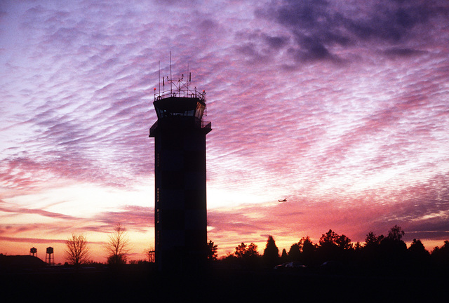 Sunset view of the tower facility where one unit of the 1974th Communications Group is stationed