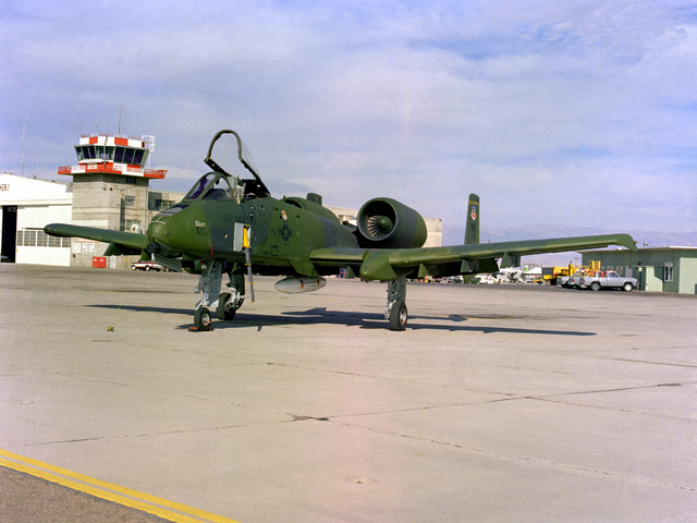 A left front ground view of an A-10A Thunderbolt II aircraft on the flight line at Armitage Field