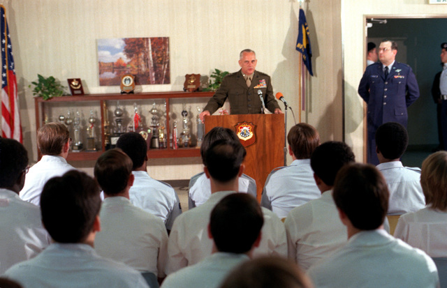 Lieutenant General Edward Bronars addresses the USAF Hospital, Yokota Air Base, staff. The hospital has been awarded the Meritorious Unit Commendation Award for the support given from 19-22 November, 1979, to the Marines burned in a fuel fire at Camp Fuji and subsequently airlifted to Brooks Army Burn Center in Texas