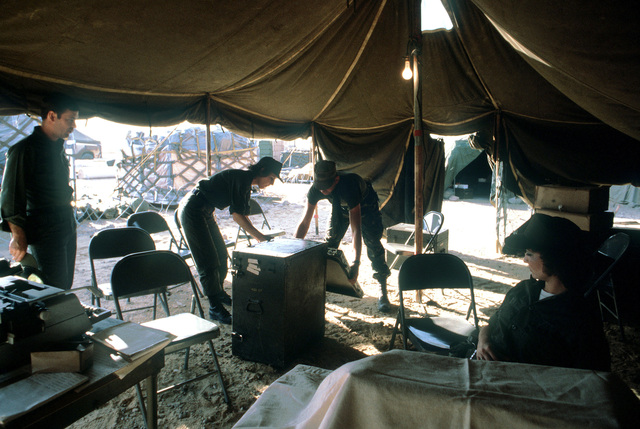 SGT Wilma L. Walls, an administrative specialist with the 226th Combat Communications Squadron, sets up the field office that she will use during exercise Bright Star '80