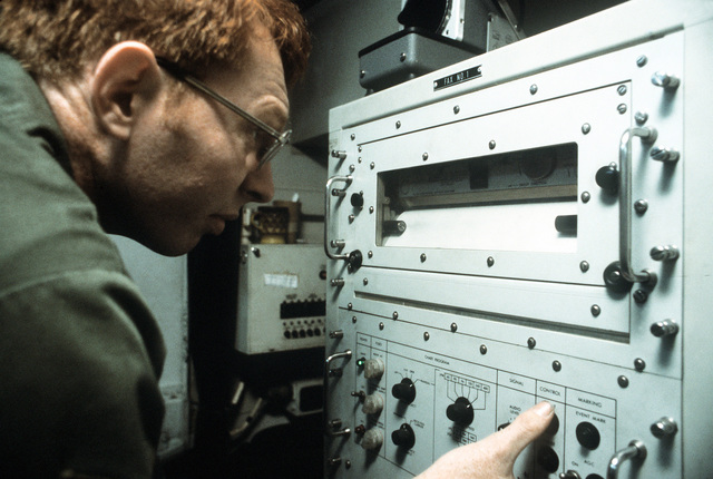 SSGT Richard K. Gibbs, 266th Combat Communications Squadron, Montgomery, Alabama, operates a weather receiver during exercise Bright Star '80