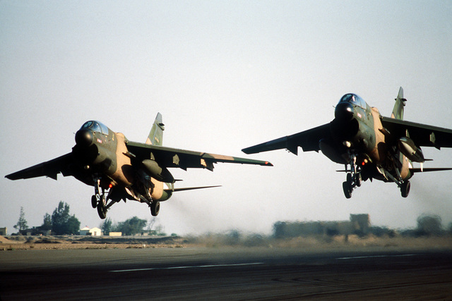 Two A-7 Corsair II aircraft come in for landing during exercise Bright Star '80