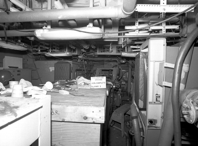 Auxiliary machinery room No. 3 aboard the Oliver Hazard Perry class guided missile frigate USS STEPHEN W. GROVES (FFG 29) at 40 percent completion