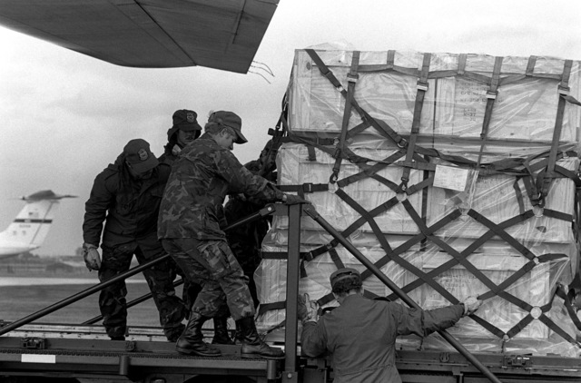 A pallet of US Army tents is offloaded from an Air Force C-130 Hercules aircraft at Capodichino Airport, during relief operations, following a major earthquake