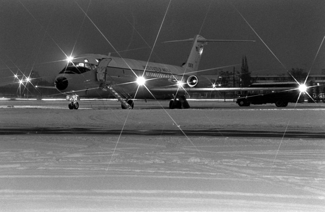 A view of a C-9 Nightingale aircraft before flight