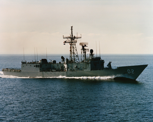A starboard bow view of the Australian frigate CANBERRA (F-02) as Todd Pacific Shipyards Corporation conducts sea trials