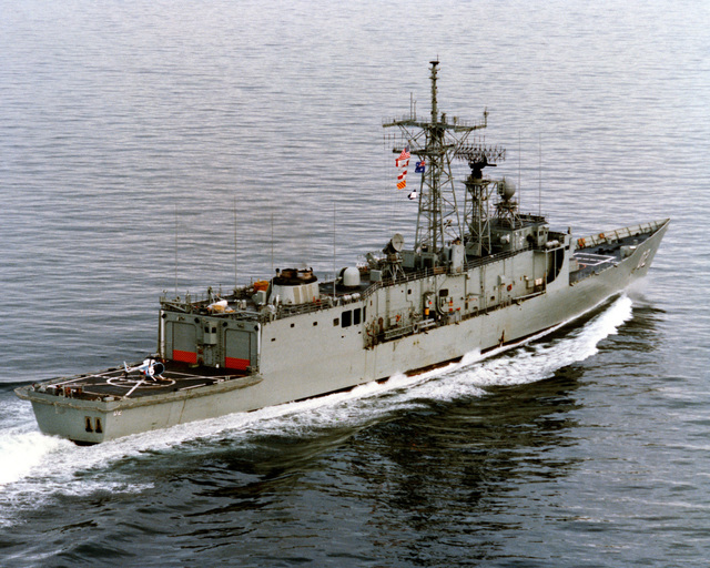 An aerial starboard quarter view of the Australian frigate CANBERRA (F-02) as Todd Pacific Shipyards Corporation conducts sea trials