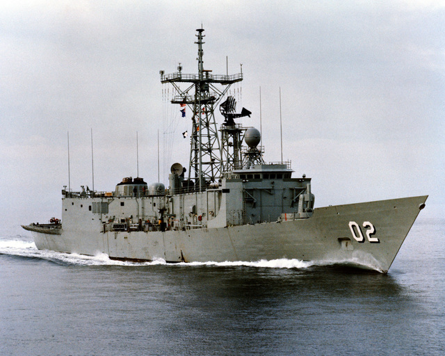 An starboard bow view of the Australian frigate CANBERRA (F-02) as Todd Pacific Shipyards Corporation conducts sea trials