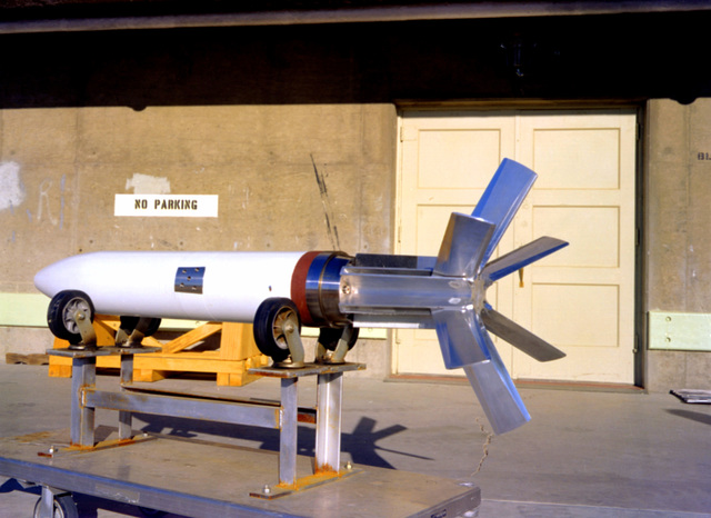 A left side view of an extended range guided projectile (ERGP) on a stand prior to ordnance testing