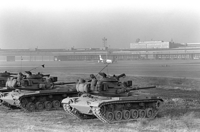 M-60 main battle tanks of Co. F, 40th Armor, Berlin Bde., undergo dry firing proficiency training at Tempelhof Central Airport