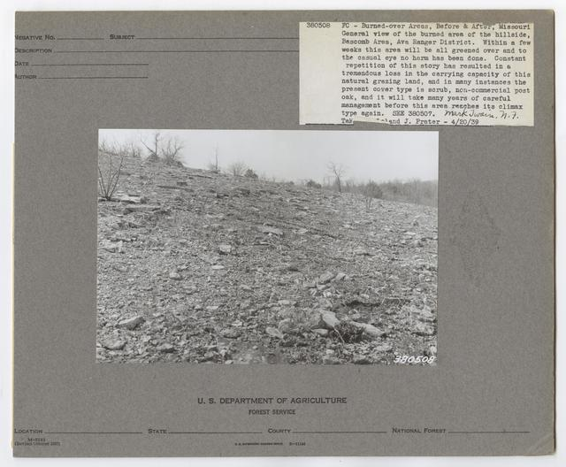 Burned -Over Areas - Camera Point - Missouri