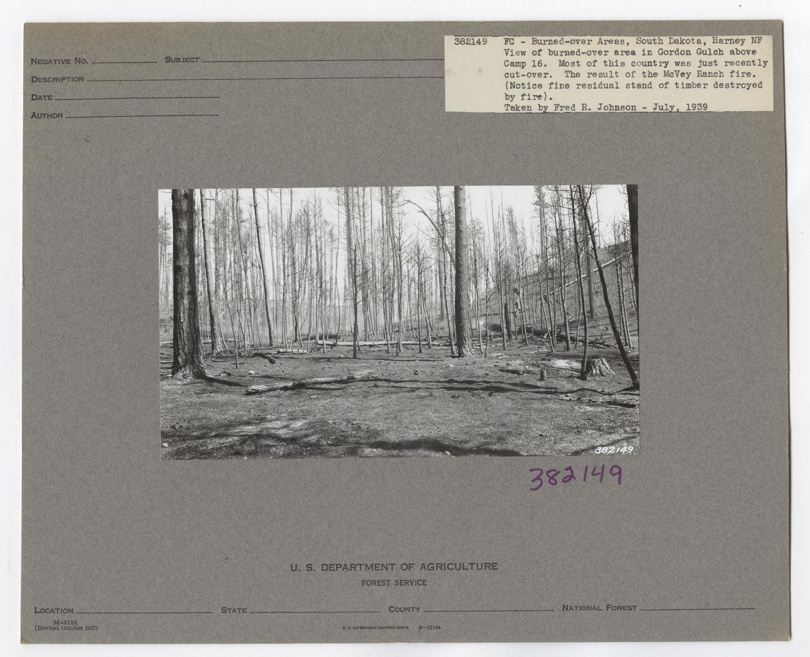 Burned -Over Areas - South Dakota