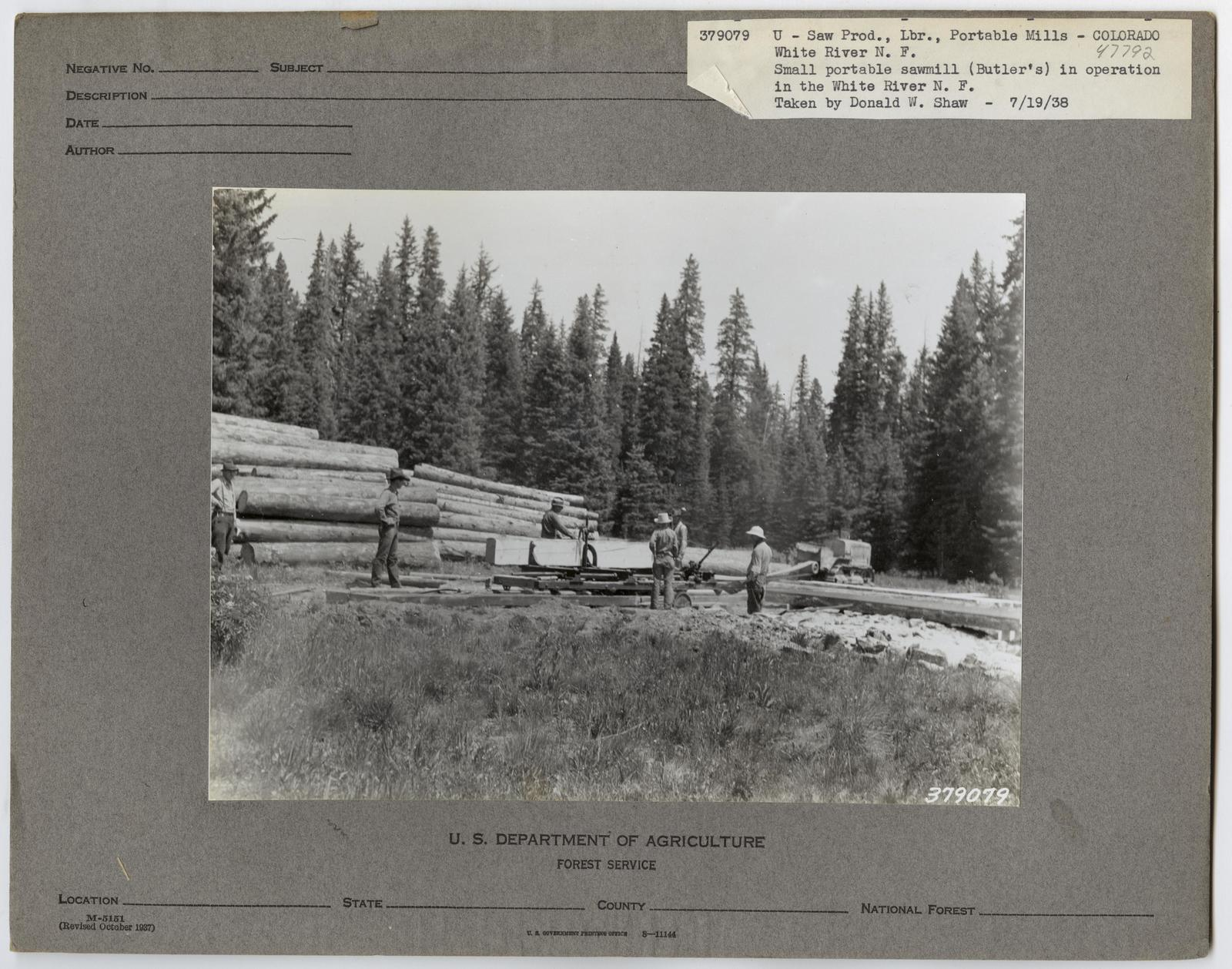 Large Sawmills - Colorado