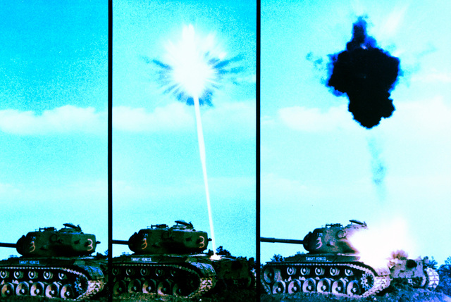 A sequence of three photos showing the impact of an extended-range anti-armor munition warhead on an Army M-48 full-tracked combat tank target. The left photo shows the warhead seconds before impact. The self-forging fragment of the warhead, in the middle photo, is being fired into the engine by the built-in infrared sensor. The fragment, in the right photo, penetrates and immobilizes the engine