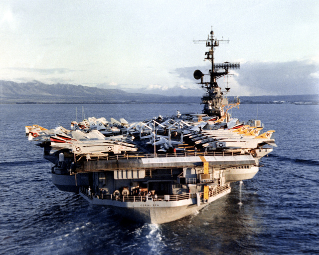 A stern view of the aircraft carrier USS CORAL SEA (CV-43) underway approaching Naval Station, Pearl Harbor, Hawaii