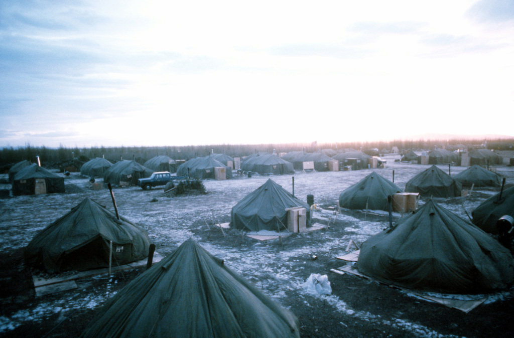 """A view of tent facilities in the camp base during Exercise Brim Frost """"81"""