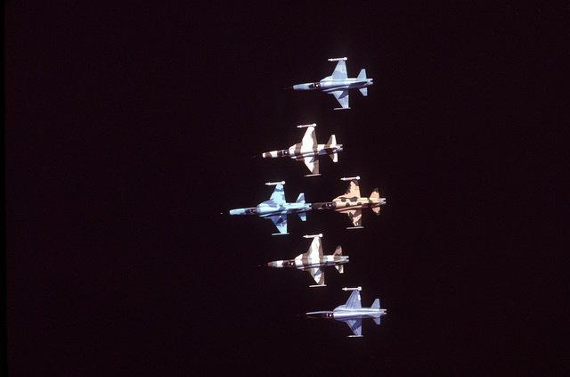 AN air-to-air overhead view of a six-ship delta formation of F-5E Tiger II aircraft from the 57th Fighter Weapons Wing over a lake. Each aircraft is painted in a different camouflage scheme and is carrying one AIM-9 Sidewinder missile