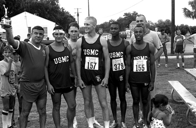 Four Marines finish the Parris Island Marathon in the first four positions. They are, left to right, SGT Hicks, SGT Jones, CPL Moore and SSGT Haines