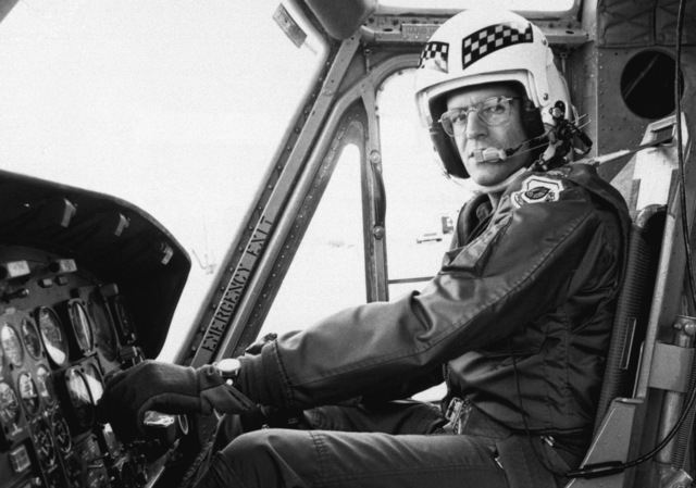 MAJ Larry Doege pilots a UH-1N Iroquois helicopter to the blazing MGM Grand Hotel to rescue hotel guests. Doege is a member of the 57th Fighter Weapons Wing