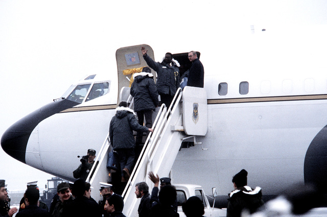 The 52 former hostages board the VC-137 Freedom One aircraft for their departure to the United States after their release from Iran
