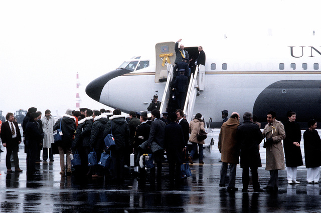 U.S. Marines, former hostages, arrive at the base for their departure to the United States. The 52 hostages were hospitalized for a few days after their release from Iran