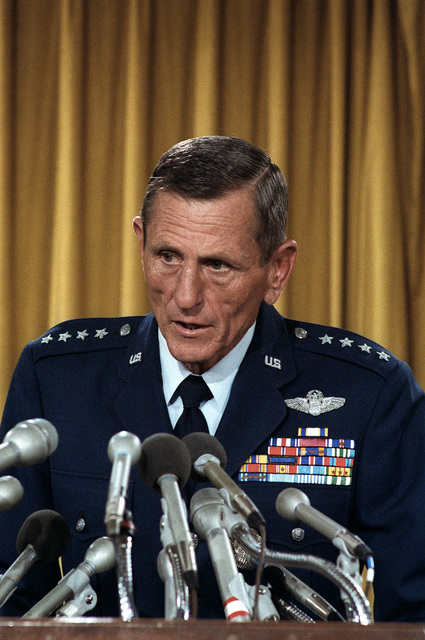 GEN Bennie L. Davis, commander, Air Training Command, conducts a press conference to announce the findings of a panel on the Titan II intercontinental ballistic missile (ICBM) silos