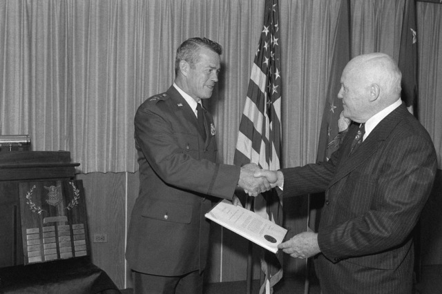 LGEN Kenneth L. Tallman, left, commander of the U.S. Air Force Academy, receives the Zuckert Award from former Secretary of the Air Force Eugene M. Zuckert during a ceremony at the Pentagon