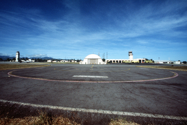 A view of part of the airfield and hangar