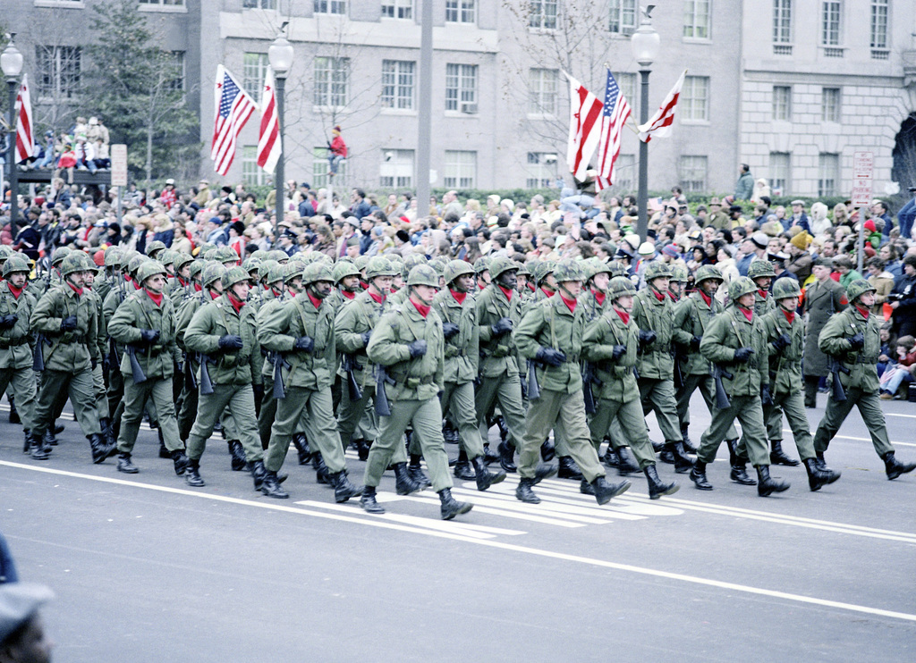 An Army infantry unit marches down Pennsylvania Avenue during the Inauguration Day parade