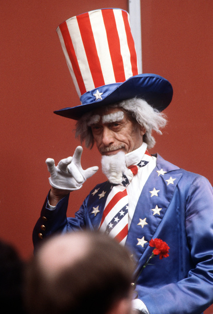 An unidentified Uncle Sam makes an appearance during the Inaugural celebrations