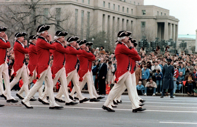 Members of the 3rd Infantry Division (The Old Guard) Fife and Drum Corps, Fort Myer, Va., dressed in colonial uniforms, march down Pennsylvania Avenue during the Inauguration Day parade